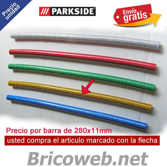 1 BARRA SILICONA CALIENTE COLOR AMARILLO PURPURINA PARKSIDE PHPZ