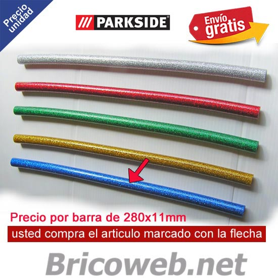 1 BARRA SILICONA CALIENTE COLOR AZUL PURPURINA PARKSIDE PHPZ