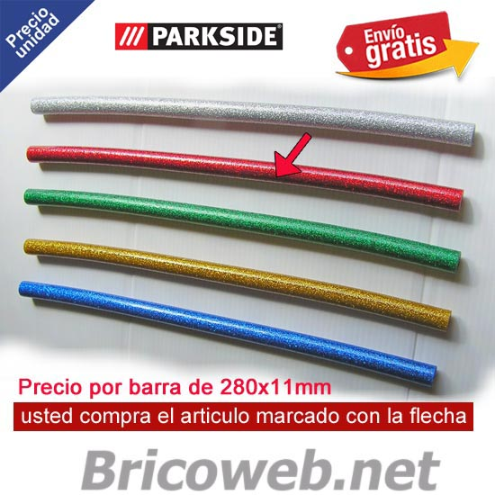 1 BARRA SILICONA CALIENTE COLOR ROJO PURPURINA PARKSIDE PHPZ 2