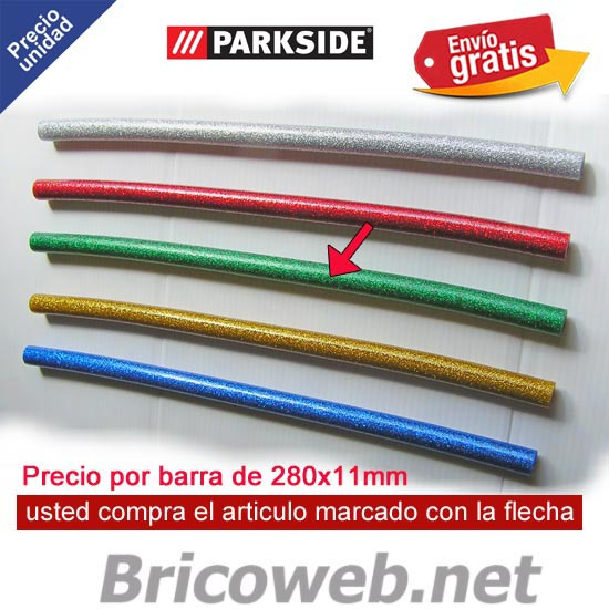 1 BARRA SILICONA CALIENTE COLOR VERDE PURPURINA PARKSIDE PHPZ 2
