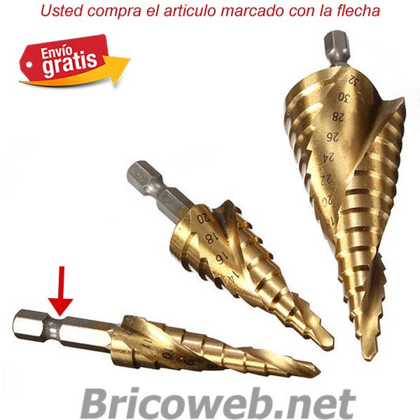 BROCA ESCALONADA ESPIRAL HSS 4-12mm-