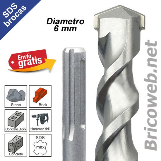 BROCA PARA MARTILLOS PERFORADORES CON INSERCION SDS DIAMETRO 6mm