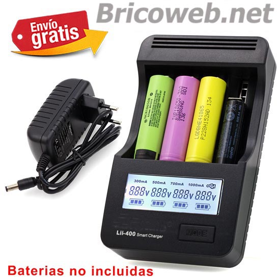 .CARGADOR BATERIAS LITIO DISPLAY LCD ILUMINADO LII400