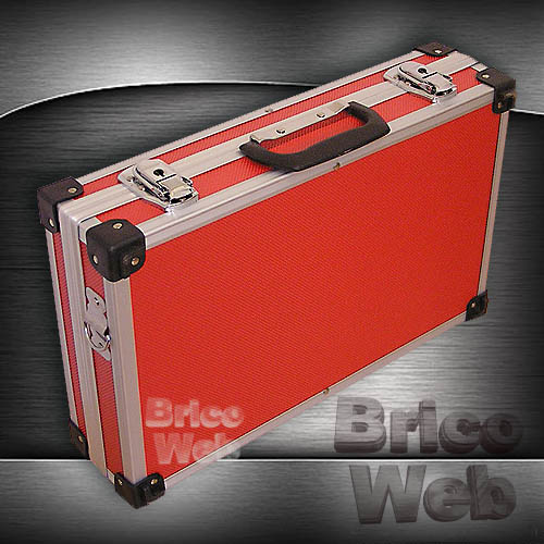 Maletin herramientas aluminio rojo 390mm bricoweb - Maletin de aluminio para herramientas ...