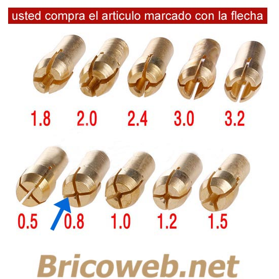 BOQUILLA MINI MANDRIL DIAMETRO 0,8mm