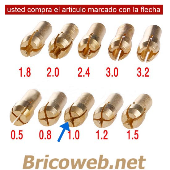BOQUILLA MINI MANDRIL DIAMETRO 1,0mm