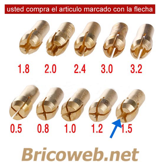 BOQUILLA MINI MANDRIL DIAMETRO 1,5mm