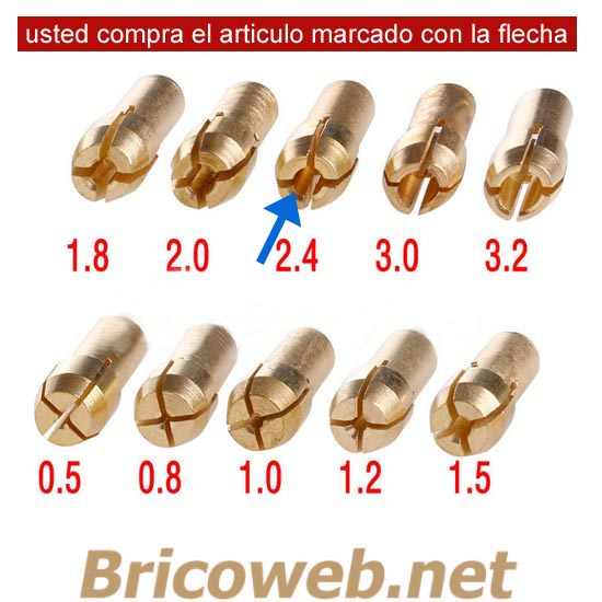 BOQUILLA MINI MANDRIL DIAMETRO 2,4mm