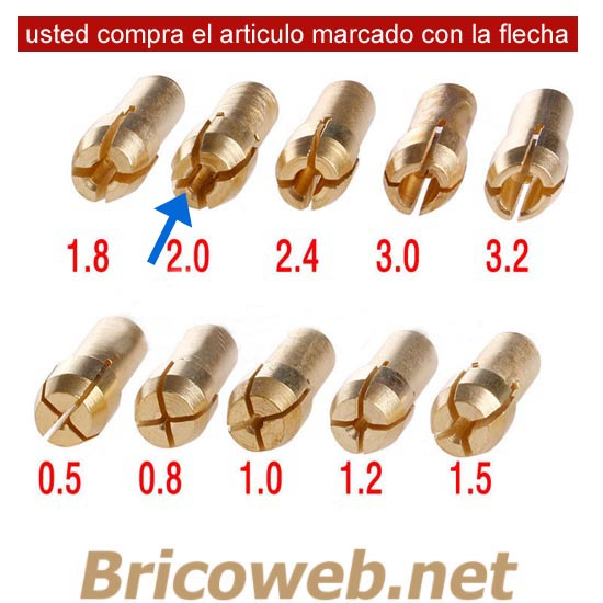BOQUILLA MINI MANDRIL DIAMETRO 2,0mm