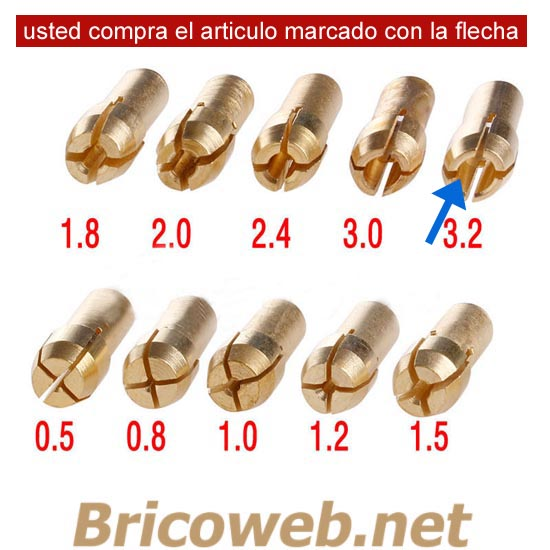BOQUILLA MINI MANDRIL DIAMETRO 3,2mm