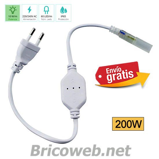 CABLE CON RECTIFICADOR CORRIENTE IP65 TIRA LED 220V