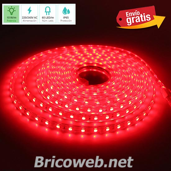 TIRA LED SMD 5050 60 LEDS 1 METRO 220V DC LUZ COLOR ROJO