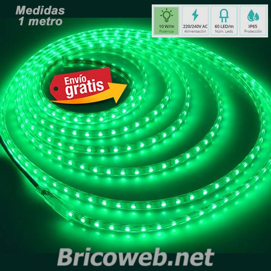 TIRA LED SMD 5050 60 LEDS 1 METRO 220V DC LUZ COLOR VERDE